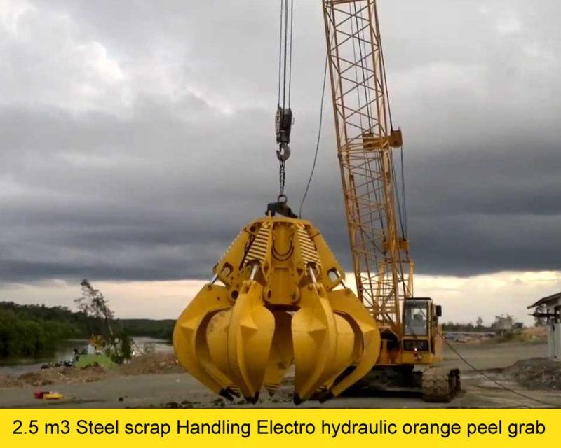 2.5 m3 Steel scrap Handling Electro hydraulic orange peel grab