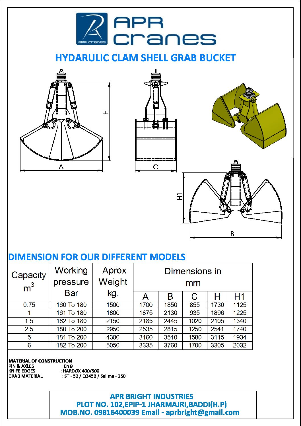 Clamshell Bucket Manufacturer | Clamshell Bucket for